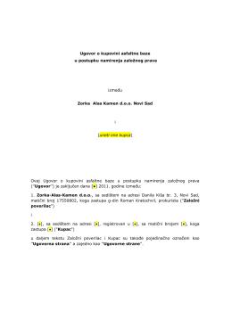 Nacrt ugovora o prodaji