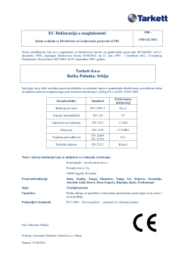 EC Deklaracija o usaglašenosti Tarkett d.o.o Bačka Palanka, Srbija