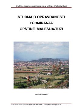 Studija o opravdanosti formiranja opštine Malesija / Tuzi