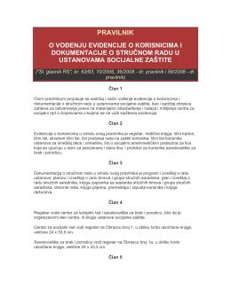 Pravilnik o vođenju evidencije o korisnicima i dokumetacije o