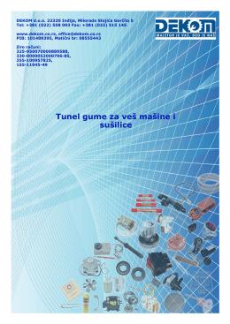 Katalog tunel guma (guma za vrata) za veš mašine i