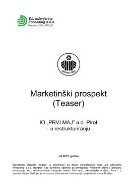 IO Prvi maj Pirot - Marketinski prospekt