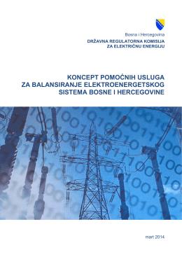 Koncept pomoćnih usluga za balansiranje EES BiH