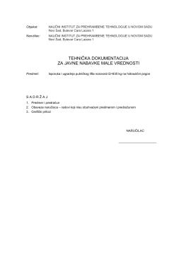 tehnička dokumentacija za javne nabavke male vrednosti