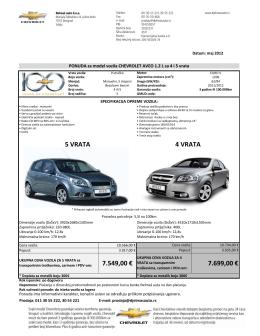 Ponuda za Chevrolet AVEO 1.2L 4 i 5 vrata