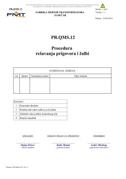Rešavanja prigovora i žalbi PR.QMS.12