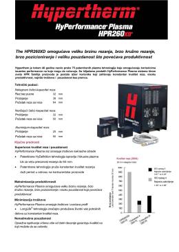 The HPR260XD omogućava veliku brzinu rezanja, brzo