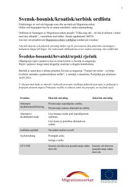 bosnisk/kroatisk/serbisk-svensk ordlistan
