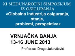 Globalna industrija osiguranja, stanje, problem, perspektiva
