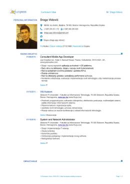 Europass CV - Fakultet za informacione tehnologije