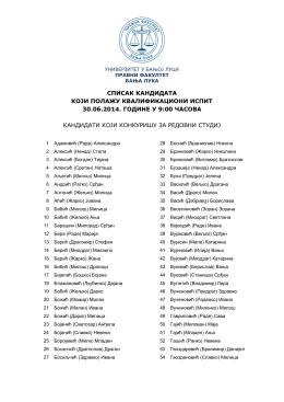 списак кандидата који полажу квалификациони