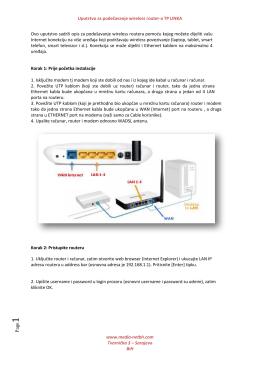 Uputstvo za podešavanje wireless router