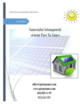 Samostalni fotonaponski sistemi Pare Na Sunce