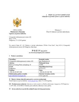 CRNA GORA Obrazac 4 Ministarstvo finansija Član 63
