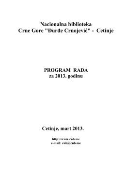 """Nacionalna biblioteka Crne Gore """"Đurđe Crnojević"""""""