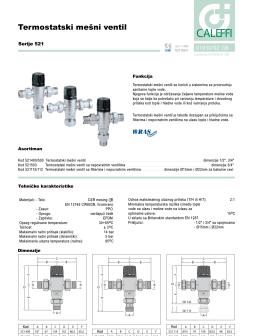 Tehnički list za Caleffi mešni ventil serije 521