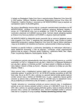 Rezime U skladu sa Strategijom Vlade Crne Gore o