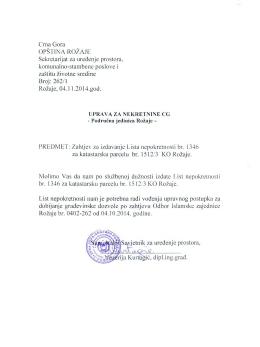 Crna Gora OPŠT1NA ROŽAJE Sekretarijat za