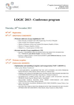 LOGIC 2013 - Conference program