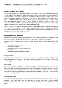 privredne karakteristike kalinjingradske oblasti