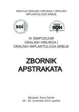 Zbornik 2014.indd - Sekcija za Oralnu Hirurgiju i Oralnu Implantologiju