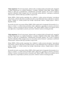 Važna napomena: Prevod ovog propisa, odnosno akta sa srpskog