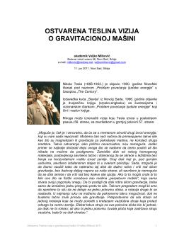 Ostvarena Teslina vizija o gravitacinoj mašini