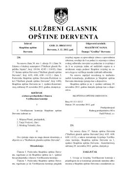 """""""Službeni glasnik opštine Derventa"""", broj : 15/12"""