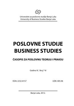 poslovne studije business studies časopis za poslovnu teoriju i praksu
