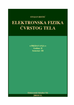 ELEKTRONSKA FIZIKA ^VRSTOG TELA