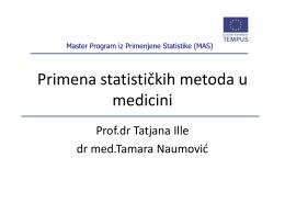 Tamara Naumović Primena statističkih metoda u medicini