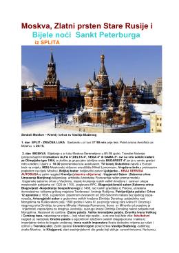 Moskva, Zlatni prsten Stare Rusije i Bijele noći Sankt Peterburga