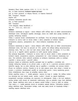 1. Doc. dr Rade Kosanović Kohlearni implant kod dece