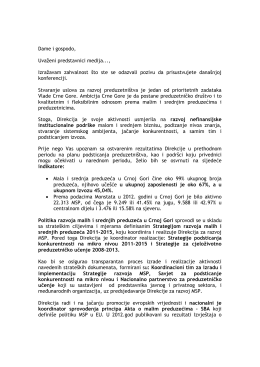 Govor Aleksandra Pavićevića - Direkcija za razvoj malih i srednjih