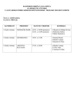 februarskom ispitnom roku školske 2014/2015. godine