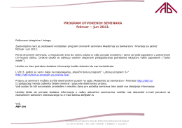 PROGRAM OTVORENIH SEMINARA februar – jun 2013.
