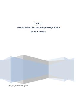Izveštaj o radu Uprave za sprečavanje pranja novca za 2012. godinu