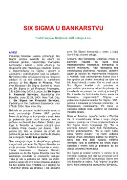 SIX SIGMA U BANKARSTVU