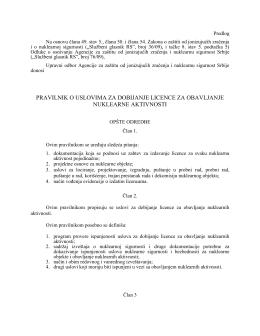 pravilnik o uslovima za dobijanje licence za obavljanje nuklearne