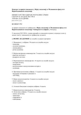 Конкурс за пријем кандидата у Војну академију и МФ ВМА