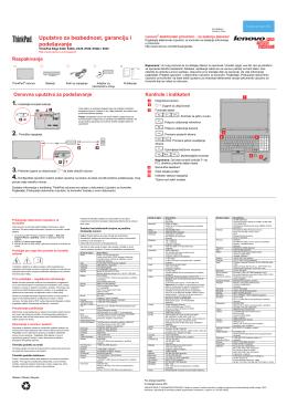 Uputstvo za bezbednost, garanciju i podešavanje