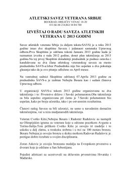 atletski savez veterana srbije izveštaj o radu saveza atletskih