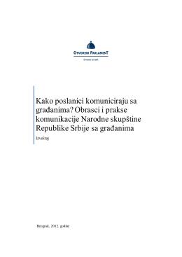 Komunikacija Narodne skupstine Republike Srbije sa gradjanima