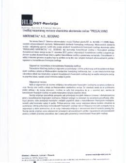 lzve~taj nezavisnog revizora vlasnicima ekonomske celine