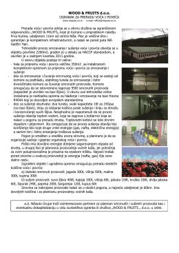 ogranak za preradu voća smrzavanjem i sušenjem