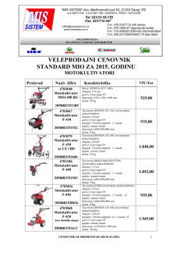 veleprodajni cenovnik standard mio za 2015. godinu