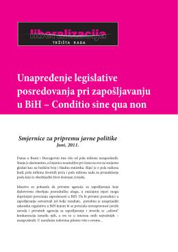 Unapređenje legislative posredovanja pri zapošljavanju u BiH