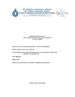 Program poslovanja za 2014 - JKP Vodovod i Kanalizacija