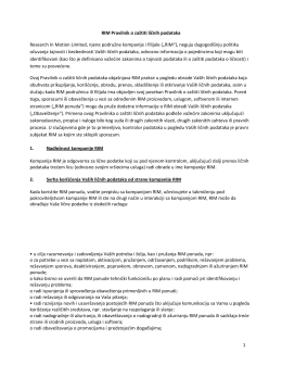 1 RIM Pravilnik o zaštiti ličnih podataka Research In