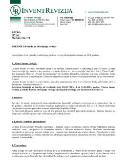 Ponuda za obavljanje revizije u 2014.